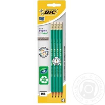 Олівець BIC Evolution 655 НВ з гумкою 4 шт - купити, ціни на Метро - фото 1