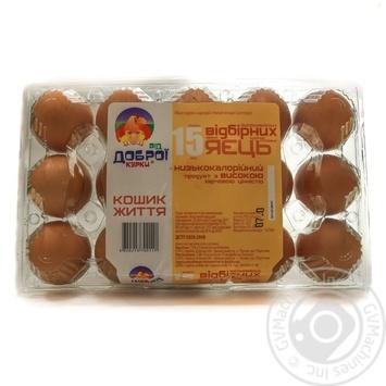 Яйця курячі Від доброї курки Кошик Життя С0 15шт - купити, ціни на Ашан - фото 1