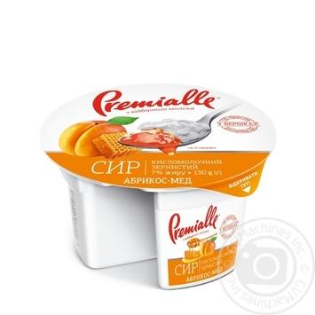 Творог Премиалле зернистый 7% 120г + наполнитель абрикос-мёд пастеризованный 30г