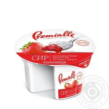 Сир кисломолочний Premialle Полуниця зернистий 7% 150г - купити, ціни на Novus - фото 1