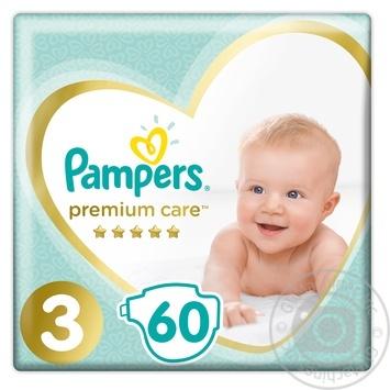 Pampers Premium Midi 3 Diapers 5-9kg 60pcs - buy, prices for Furshet - image 1