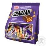 Конфеты Лукас Sharzan глазированные молочно-ирисовые с цельным арахисом 200г - купить, цены на Novus - фото 1