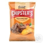 Flint Chipster's Potato Wavy Chips with Veal and Adjika Flavor 120g - buy, prices for Furshet - image 1