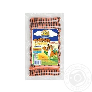 Сосиски Ятранчик Тигрик з сиром 385г - купити, ціни на Метро - фото 1