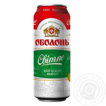 Пиво Оболонь Світле пастеризоване 4.5%об. 500мл - купити, ціни на Novus - фото 1