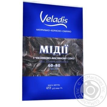 Мидии Veladis в ракушках в чесночно-масляном соусе целые варено-мороженые 60/80 450г