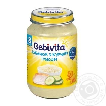 Пюре Bebivita Кабачок с цыпленком и рисом мясо-овощное для детей с 8 месяцев 220г