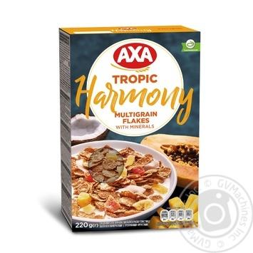 Хлопья мультизерновые AXA Harmony Tropic с тропическими фруктами обогащенные минералами 220г