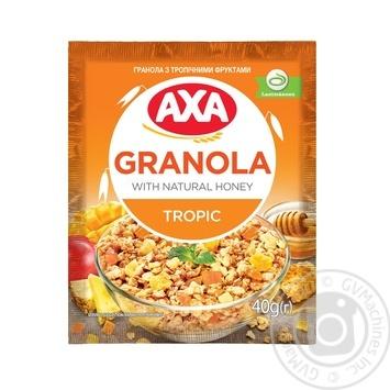 Завтраки сухие зерновые Гранола АХА с тропическими фруктами 40г - купить, цены на МегаМаркет - фото 1