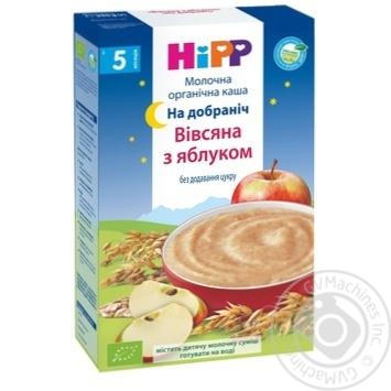 Каша молочная Hipp Organic Спокойной ночи овсяно-пшеничная с яблоком для детей с 5 месяцев 250г - купить, цены на Ашан - фото 1