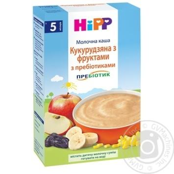 Каша детская HiPP  Кукурузная с фруктами с пребиотиками молочная без сахара с 5 месяцев 250г - купить, цены на МегаМаркет - фото 1