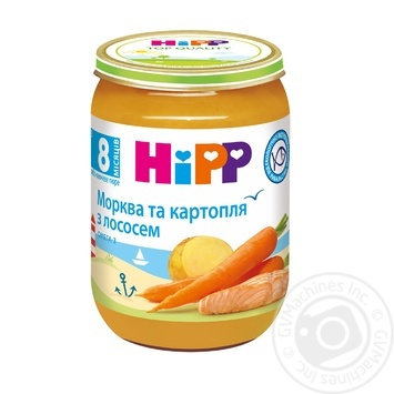 Пюре Hipp Морковь и картофель с лососем для детей с 8 месяцев 190г