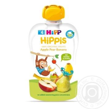 Пюре Hipp Hippis яблоко-груша-банан 100г - купить, цены на Ашан - фото 1