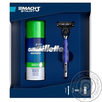 Подарочный набор Gillette Пена для бритья 100 мл + Станок с сменной кассетой для чувствительной кожи - купить, цены на Novus - фото 1