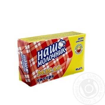 Масло Наш молочник экстра ДСТУ 82,5% 180г - купить, цены на Метро - фото 1