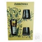 Набор Водка Zubrowka Zlota 37,5% 700мл + 2 бокала