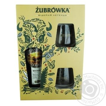 Набір Горілка Zubrowka Zlota 37,5% 700мл + 2 келихи