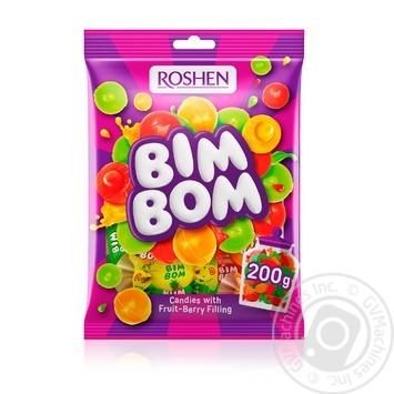 Конфеты Roshen Бим-Бом карамель с фруктово-ягодной начинкой 200г