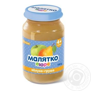 Пюре Малятко груша-яблуко для дітей з 4 місяців 180г - купити, ціни на МегаМаркет - фото 1