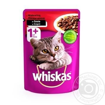 Корм для котов Whiskas с говядиной в соусе 100г - купить, цены на Фуршет - фото 1