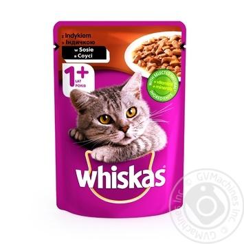 Корм для взрослых котов Whiskas с индейкой в соусе 100г - купить, цены на Ашан - фото 1