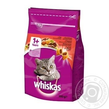 Корм сухой Whiskas для взрослых кошек с говядиной 300г - купить, цены на Ашан - фото 1