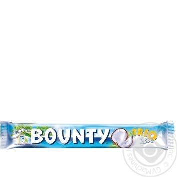 Батончик Bounty Trio в молочно-шоколадной глазури с кокосовой начинкой 3шт 85г