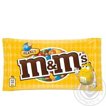 Драже M&M's с арахисом и молочным шоколадом покрытое хрустящей разноцветной глазурью 45г - купить, цены на Novus - фото 1
