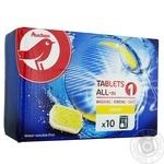Таблетки Ашан все в 1 для посудомоечной машины лимон 10шт