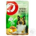 Корм Ашан Мясной деликатес с телятиной для собак 100г