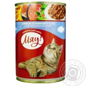 Мau! full-rationed canned pet food for adult cats With fish in delicate sauce 415g - buy, prices for Novus - image 1