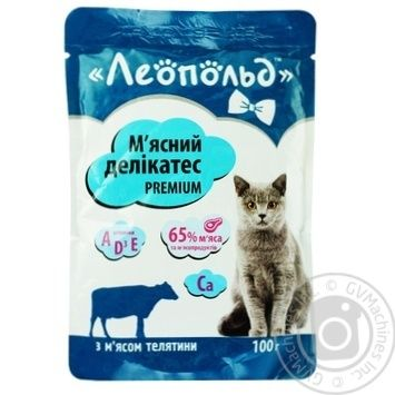 Leopold Meat Delicacy Wet Food for Cats with Veal 100g - buy, prices for Furshet - image 1