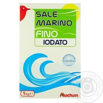 Морская соль Ашан пищевая йодированная мелкая 1кг - купить, цены на Ашан - фото 1