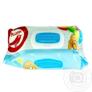 Влажные салфетки Ашан ультрамягкие для детей с первых дней жизни 100шт - купить, цены на Ашан - фото 1
