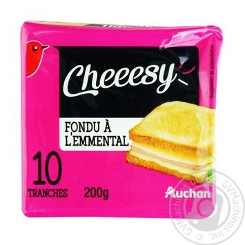 Сир Ашан Emmental пластинки 200г - купити, ціни на Ашан - фото 1