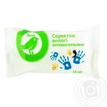 Вологі серветки Ашан антибактериальные 15шт - купить, цены на Ашан - фото 1