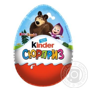 Яйцо Kinder Surprise Весна Маша и Медведь из молочного шоколада c молочным внутренним слоем и игрушкой внутри 220г - купить, цены на Ашан - фото 1
