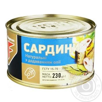 Сардины Flagman натуральные с добавлением масла 230г - купить, цены на Novus - фото 1