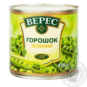 Горошок зелений Верес 420г - купити, ціни на МегаМаркет - фото 1