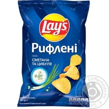 Чіпси картопляні Lay's зі смаком сметани та цибулі 133г - купити, ціни на МегаМаркет - фото 1