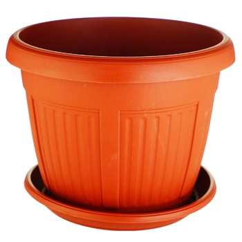 Aleana Nicole Terracotta Plastic Flowerpot With Support 14cm - buy, prices for Auchan - photo 1