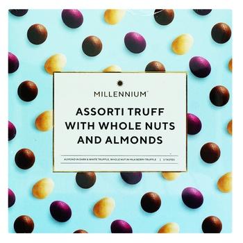 Конфеты Millennium Ассорти трюфелей в черном, молочном и белом шоколаде 180г - купить, цены на Ашан - фото 1
