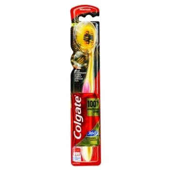 Зубна щітка Colgate 360 Золота з деревним вугіллям багатофункціональна м'яка - купити, ціни на Ашан - фото 1