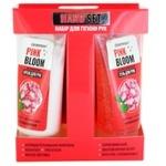 Набор для гигиены рук Cleanness + Hand Set Pink Bloom Гель антибактериальный для рук 50мл + Крем для рук Увлажняющий 50мл