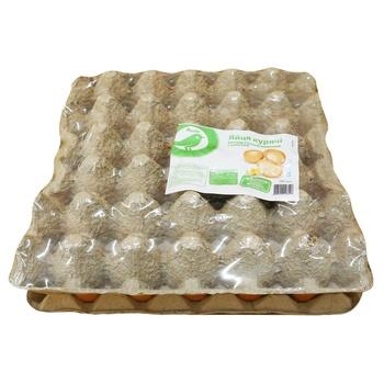 Яйцо куриное Ашан С1, лоток 30шт (цвет в ассортименте) - купить, цены на Ашан - фото 1