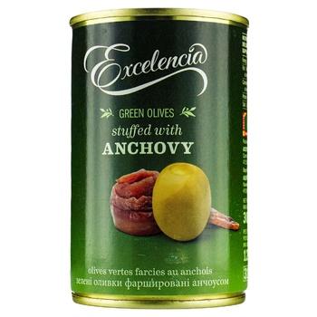 Оливки Excelencia фаршированные анчоусом 314мл