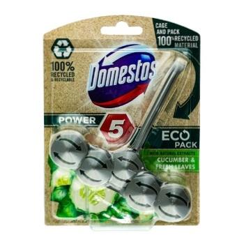 Блок для унітазу Domestos Power 5 Свіжість огірка та молодої трави 55г - купити, ціни на Ашан - фото 1