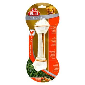 Ласощі для собак 8in1 Delights Кістка пресована курка 20см 85г - купити, ціни на Ашан - фото 1