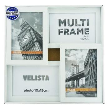 Мультирамка Velista для 4 фотографий 10*15см белая - купить, цены на Ашан - фото 1