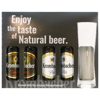Набор пива Krombacher 4х0,33л + бокал